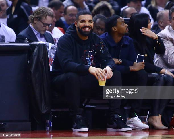 Singer Drake looks on from their court side seat during Game Two of the second round of the 2019 NBA Playoffs between the Toronto Raptors and the...
