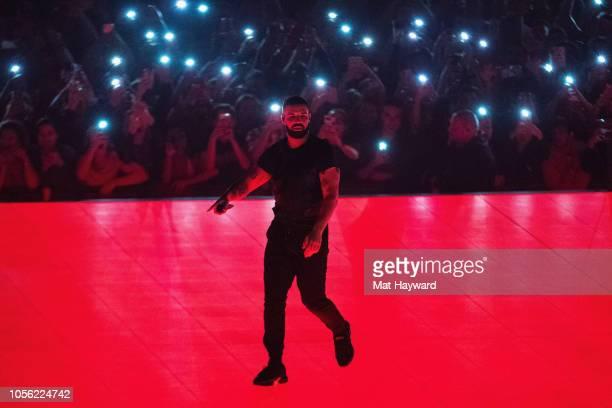 Singer Drake performs on stage at Tacoma Dome on November 1, 2018 in Tacoma, Washington.