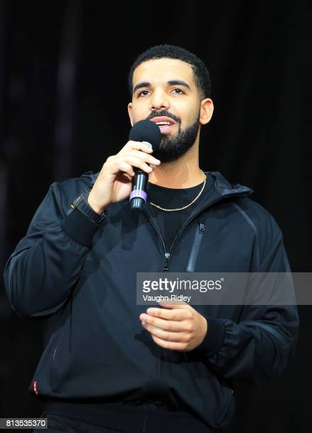 Singer Drake speaks to the crowd prior to the Floyd Mayweather Jr v Conor McGregor World Press Tour at Budweiser Stage on July 12 2017 in Toronto...