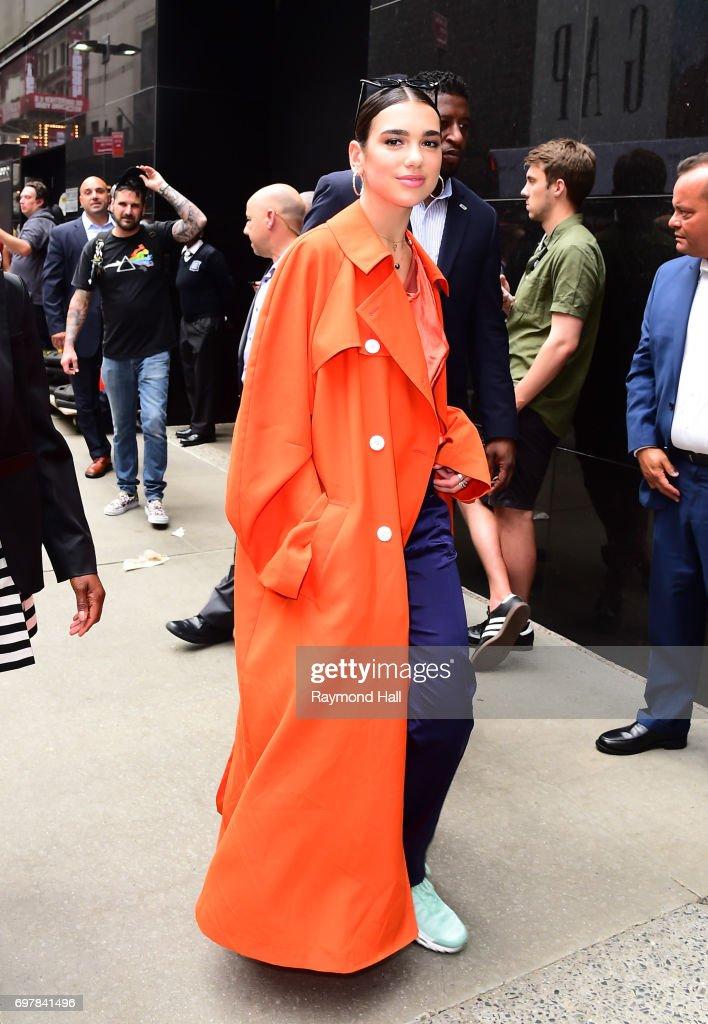 Singer Dua Lipa is seen walking outside 'Good Morning America' on June 19, 2017 in New York City.