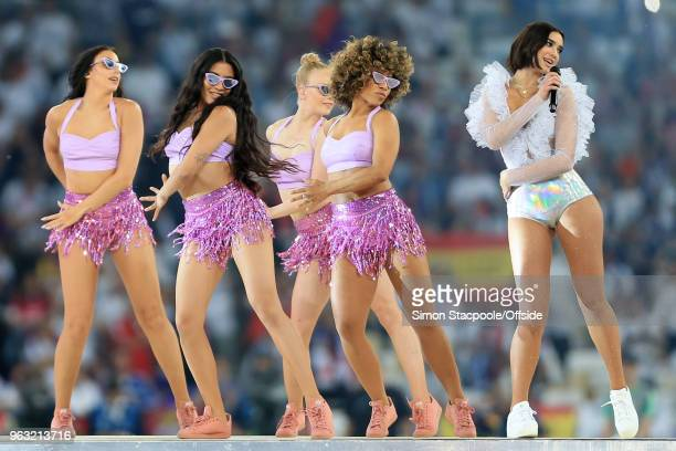 Singer Dua Lipa performs ahead of the UEFA Champions League Final match between Real Madrid and Liverpool at the NSC Olimpiyskiy Stadium on May 26...