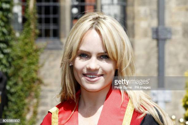 Singer Duffy in her robes prior to receiving an Honorary Fellowship during the Bangor University summer graduation ceremonies