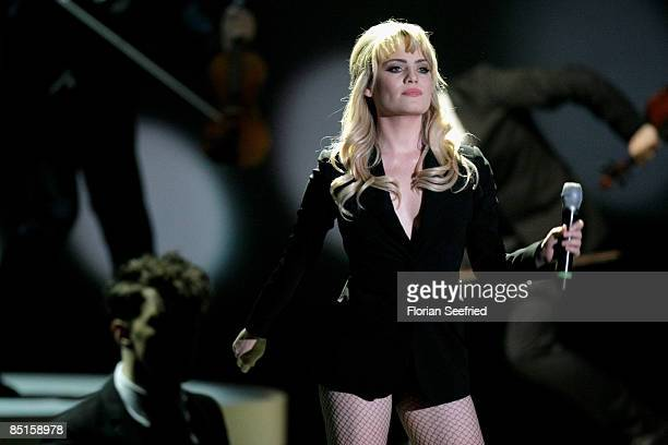 Singer Duffy performs during the Wetten dass show at the Messe Duesseldorf on February 28 2009 in Duesseldorf Germany