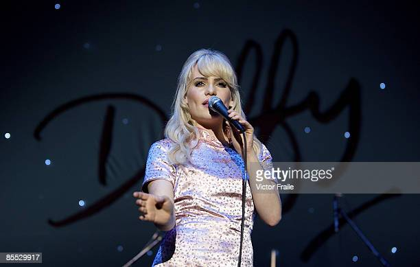 Singer Duffy performs on stage in concert at the Asia WorldArena on March 20 2009 in Hong Kong