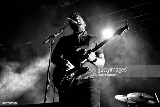 Singer Dustin Kensrue of the American band Thrice performs live on stage during a concert at the Huxleys on June 21 2018 in Berlin Germany