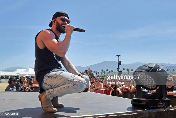 Singer Dylan Scott performs on the Toyota Mane Stage stage during day 1 of 2017 Stagecoach California's Country Music Festival at the Empire Polo...