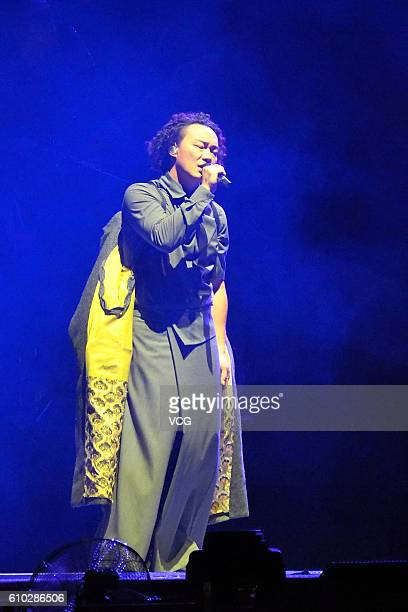 Singer Eason Chan performs on stage during his world tour concert Another Eason's Life at Hefei Sports Center on September 24 2016 in Hefei Anhui...