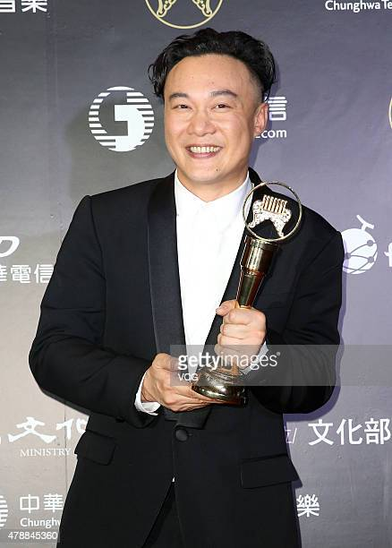 Singer Eason Chan poses with the trophy at backstage during 26th Golden Melody Awards at Taipei Arena on June 27 2015 in Taipei Taiwan