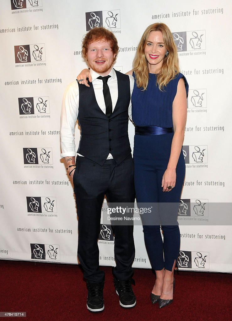 Singer Ed Sheeran and actress Emily Blunt attend the 9th Annual American Institute For Stuttering Benefit Gala at The Lighthouse at Chelsea Piers on June 8, 2015 in New York City.