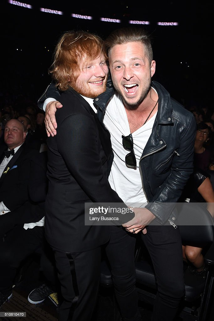 singer Ed Sheeran (L) and producer Ryan Tedder attend The 58th GRAMMY Awards at Staples Center on February 15, 2016 in Los Angeles, California.