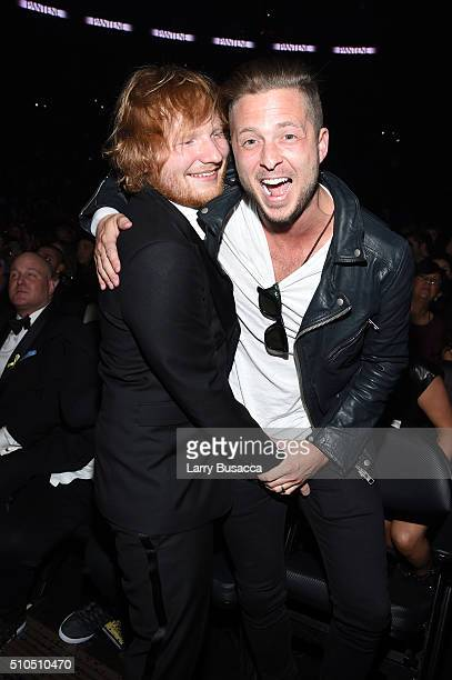 singer Ed Sheeran and producer Ryan Tedder attend The 58th GRAMMY Awards at Staples Center on February 15 2016 in Los Angeles California