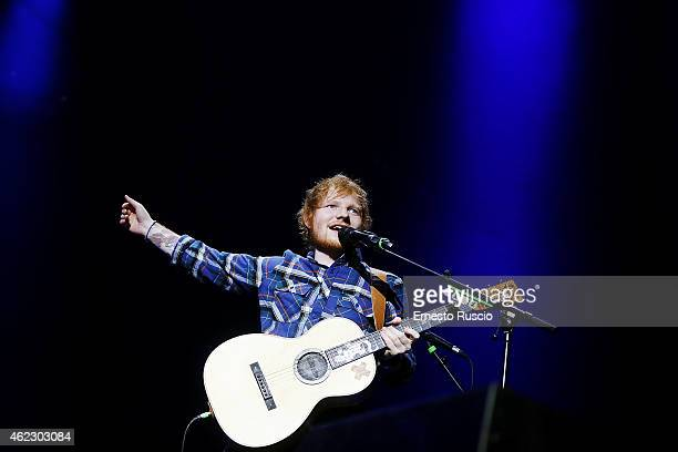 Singer Ed Sheeran performs at Palalottomatica on January 26, 2015 in Rome, Italy.