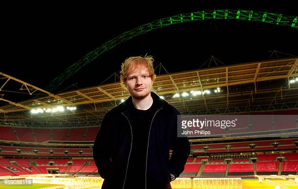 Singer Ed Sheeran poses before announcing his huge headlining show for Friday 10 July 2015 as part of his 'X' world tour at Wembley Stadium on...