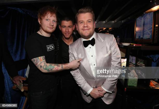 Singer Ed Sheeran singer/actor Nick Jonas and GRAMMY Awards host James Corden attend The 59th GRAMMY Awards at STAPLES Center on February 12 2017 in...