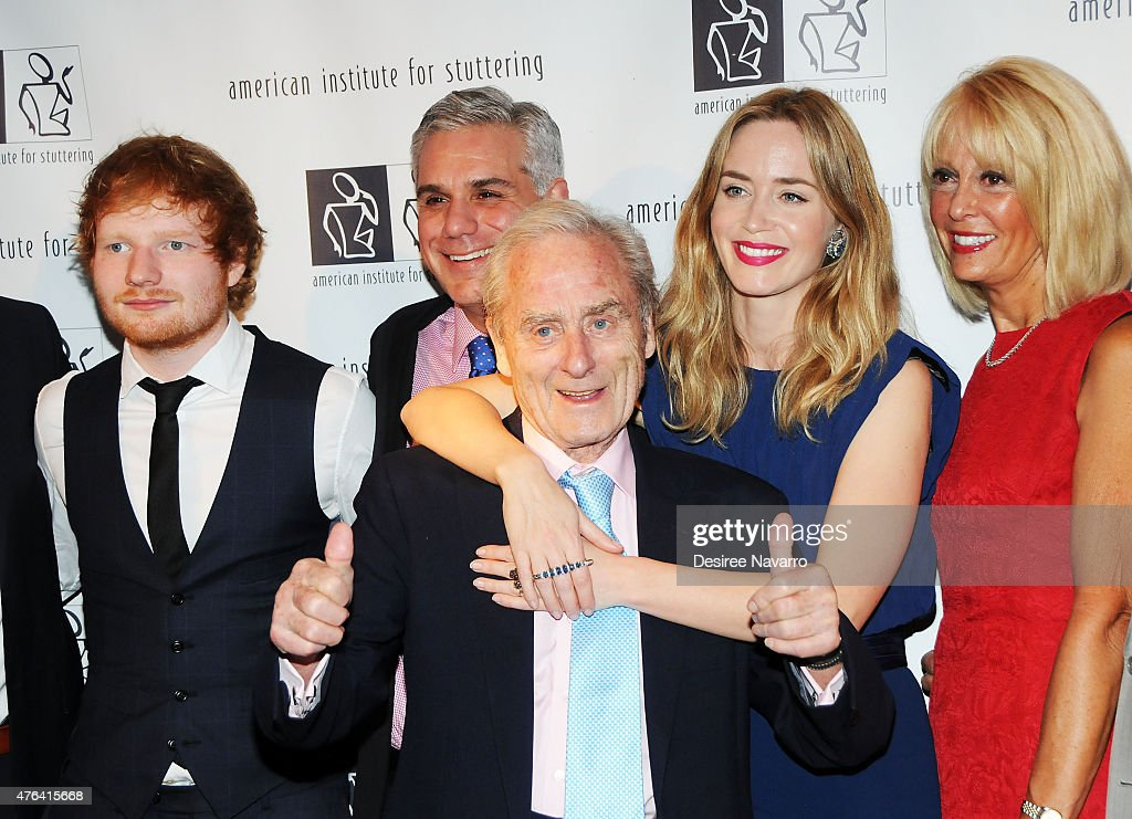 Singer Ed Sheeran (L), Sir Harold Evans (C) and actress Emily Blunt attend the 9th Annual American Institute For Stuttering Benefit Gala at The Lighthouse at Chelsea Piers on June 8, 2015 in New York City.