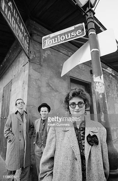 Singer Eddi Reader and guitarists Simon Edwards and Mark E Nevin of British acoustic pop group Fairground Attraction in New Orleans January 1989