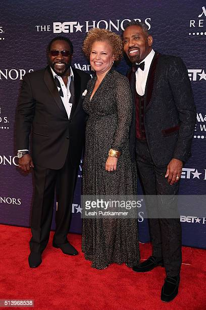 Singer Eddie Levert BET Network CEO Debra L Lee and BET Network President of Broadcast Media Sales Louis Carr attend the BET Honors 2016 at Warner...
