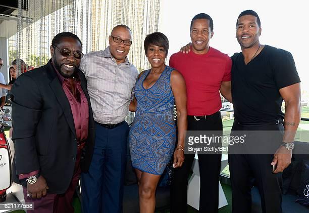 Singer Eddie Levert ESPN journalist Jay Harris actress Dawnn Lewis Soul Train's Tony Cornelius and former NBA player Jimmy Jackson attend Soul Lunch...