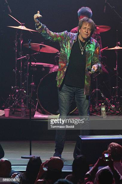 Singer Eddie Money performs on stage at the 80's Weekend held at Microsoft Theater on August 12 2016 in Los Angeles California