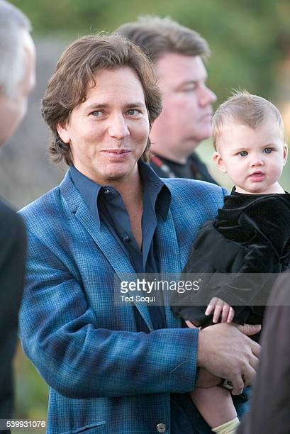 Singer Eddie Vedder of Pearl Jam and his daughter Olivia attend the memorial ceremony for Punk Rock legend Johnny Ramone who was immortalized with a...