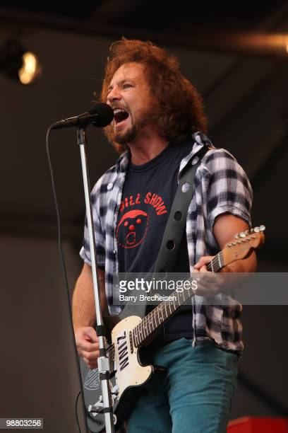 Singer Eddie Vedder of Pearl Jam performs during Day 6 of the 41st annual New Orleans Jazz & Heritage Festival at the Fair Grounds Race Course on May...