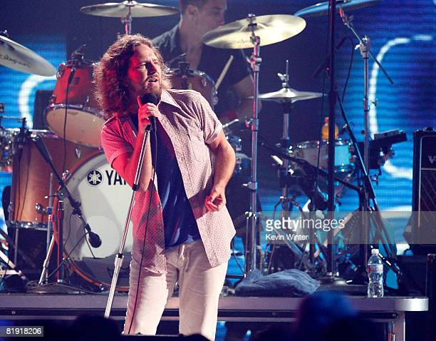 Singer Eddie Vedder of Pearl Jam performs onstage during the 3rd Annual VH1 Rock Honors at UCLA's Pauley Pavillion on July 12 2008 in Los Angeles...