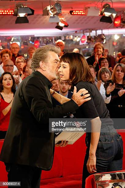 Singer Eddy Mitchell and Main Guest of the show Actress Valerie Bonneton attend 'Vivement Dimanche' French TV Show at Pavillon Gabriel on December 9...