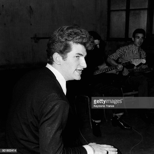 Singer Eddy Mitchell, leader of french rock group 'Les Chaussettes Noires', in April 1963 in Paris, France.