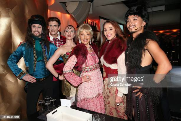 Singer Edina Pop and Henriette Heichel Strobel and Band Dschinghis Khan during the surprise party for the worldwide comeback of Ralph Siegels band...