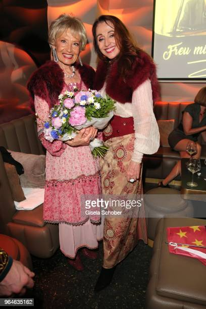 Singer Edina Pop and Henriette Heichel Strobel Dschinghis Khan during the surprise party for the worldwide comeback of Ralph Siegels band 'Dschinghis...