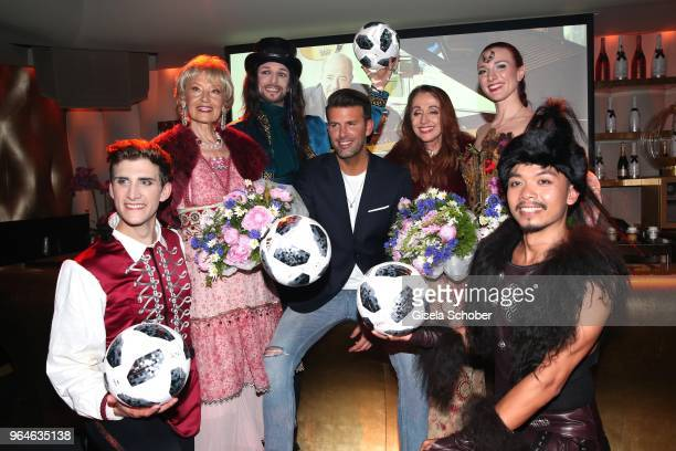 Singer Edina Pop Jay Khan Henriette Heichel Strobel and band Dschinghis Khan during the surprise party for the worldwide comeback of Ralph Siegels...