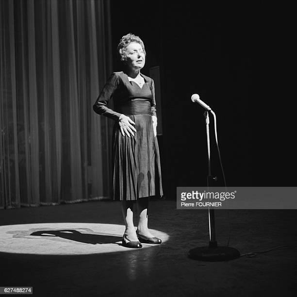 Singer Edith Piaf rehearsing at Olympia