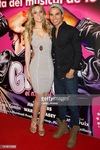 Singer Edurne and Julio Iglesias Jr attend 'Grease' Special VIP photocall at Arteria Coliseum Theater on March 27 2012 in Madrid Spain
