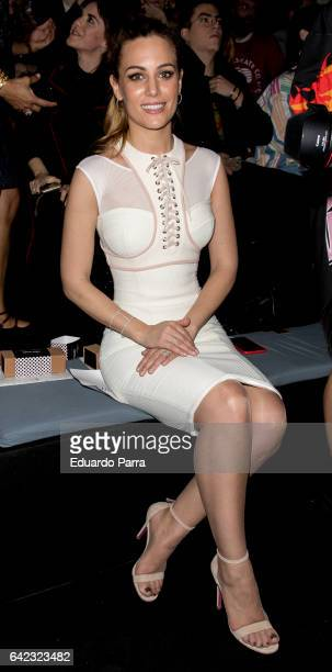 Singer Edurne Garcia attends the front row of Maya Hansen show during Mercedes Benz Fashion Week Madrid Autumn / Winter 2017 at Ifema on February 17...