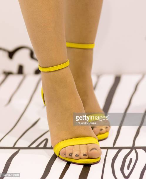 Singer Edurne Garcia shoes detail attends the Mercedes Benz Fashion Week Madrid Autumn / Winter 2017 at Ifema on February 17 2017 in Madrid Spain