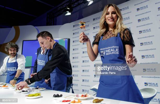 Singer Edurne Pol Espargaro Jorge Vazquez and Diego Guerrero attend the 'Reale Seguros' campaign presentation at Reale Seguros headquarters on...