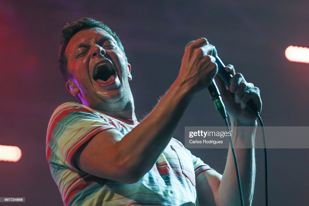 Singer Edward David Macfarlane of the band Friendly Fire performs during Day 1 of NOS Alive Festival 2018 on July 12, 2018 in Lisbon, Portugal.