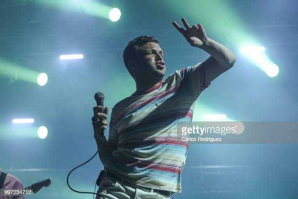 Singer Edward David Macfarlane of the band Friendly Fire performs during Day 1 of NOS Alive Festival 2018 on July 12 2018 in Lisbon Portugal