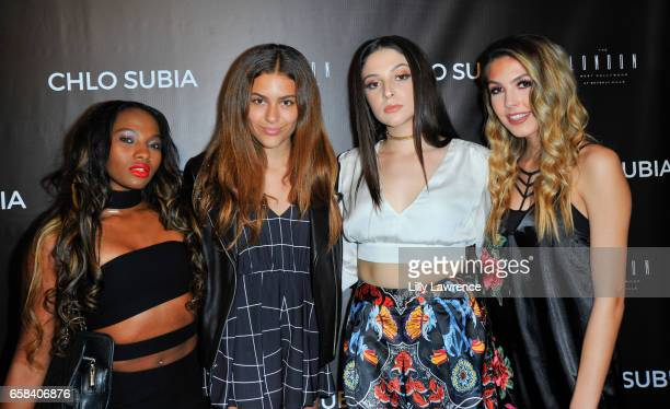 Singer Egypt Criss model/singer Izzy Young recording artist Chlo Subia and singer Jena Rose attend Chlo Subia's video and single release party at The...