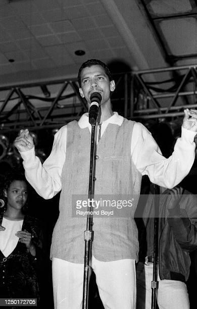 Singer El DeBarge performs at the Hyatt Hotel in Chicago, Illinois in June 1994.