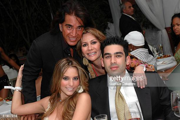 Singer El Puma wife Carolina and daughter actress Genesis Rodriguez with her date at New Year's Eve party at the at the Delano Hotel on January 1...