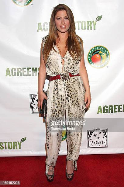 Singer Elena Paparizou attends the Gabby Awards weekend welcome party for theatrical release of 'A Green Story' held at Madame Tussauds on May 24...