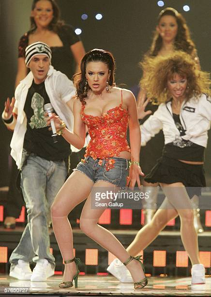 Singer Elena Risteska of Macedonia performs at the semifinals of the 2006 Eurovision Song Contest May 18 2006 in Athens Greece