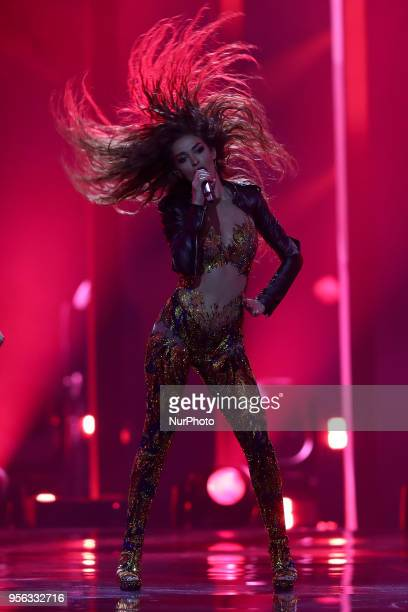 Singer Eleni Foureira of Cyprus performs during the first semifinal of the 2018 Eurovision Song Contest at the Altice Arena in Lisbon Portugal on May...