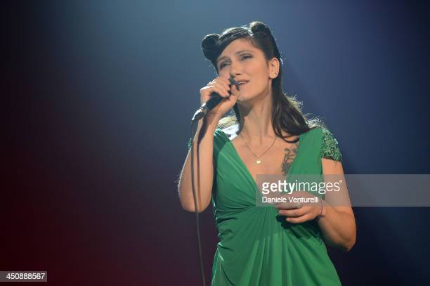Singer Elisa performs on stage during the Fondazione Milan 10th Anniversary Gala on November 20 2013 in Milan Italy