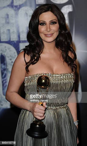 Singer Elissa with her award at the World Music Awards 2010 held at the Sporting Club MonteCarlo on May 18 2010 in MonteCarlo Monaco