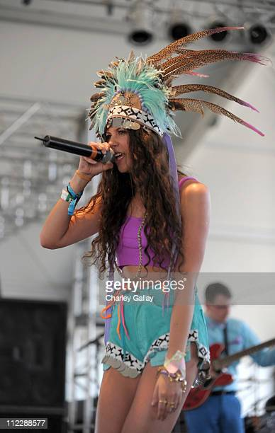 Singer Eliza Doolittle performs during Day 3 of the Coachella Valley Music Arts Festival 2011 held at the Empire Polo Club on April 17 2011 in Indio...