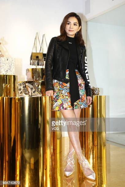 Singer Ella Chen Chiahwa attends a promotional event of Jimmy Choo on March 19 2018 in Taipei Taiwan of China