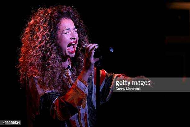 Singer Ella Eyre performs at the MOBO Awards nominations launch at Ronnie Scott's Jazz Club on September 23 2014 in London England