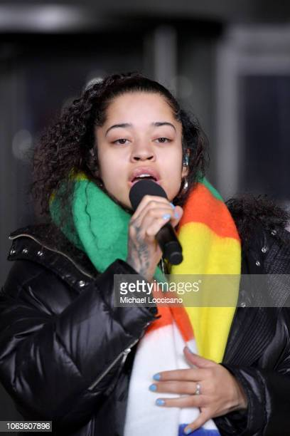 Singer Ella Mai performs during the 92nd Annual Macy's Thanksgiving Day Parade rehearsals day one on November 19 2018 in New York City